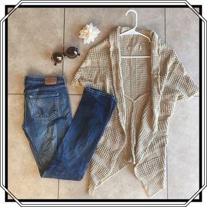 Cream Knit Shrug Sweater  / S